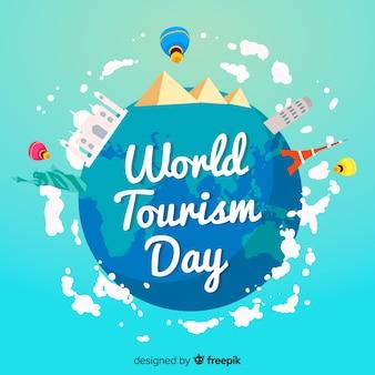 Evento de dia de turismo de mundo plano