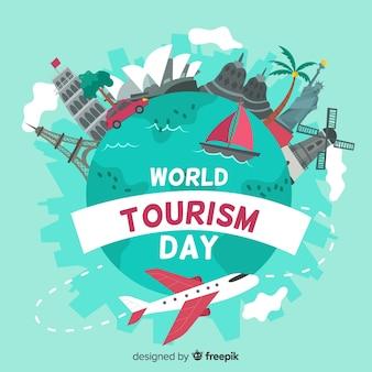 Evento de dia do turismo mundo desenhado de mão