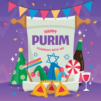 Evento de dia feliz design plano purim