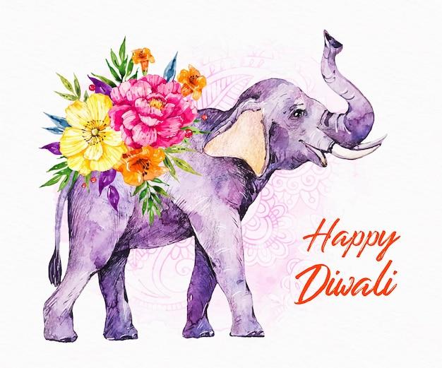 Evento de diwali com elefante aquarela