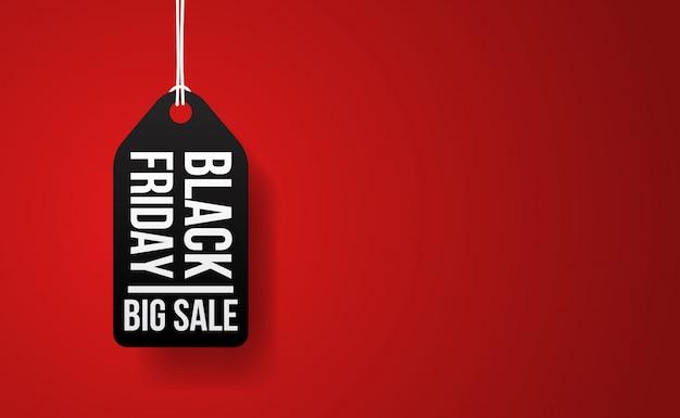 Evento de grande venda de sexta-feira negra com ilustração de etiqueta de preço