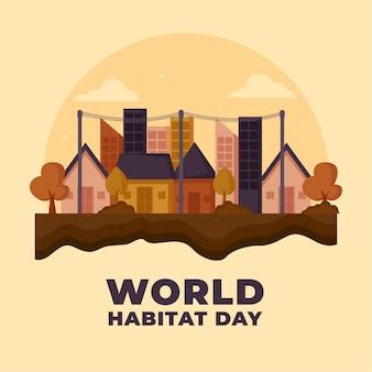 Evento de ilustração do dia mundial do habitat