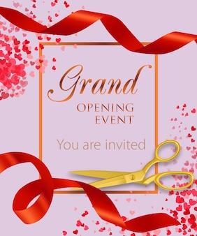 Evento de inauguração letras com confetes de coração