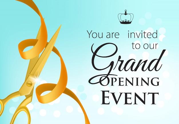 Evento de inauguração letras com tesoura de ouro e fita