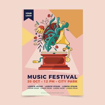 Evento de música de cartaz ilustrado