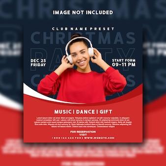 Evento de música dj natal mídia social post design de modelo de banner do instagram