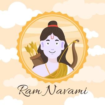 Evento de navami ram desenhado à mão
