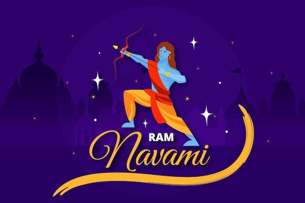 Evento de navami ram feliz desenhados à mão