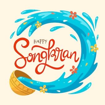 Evento de songkran de design de mão desenhada
