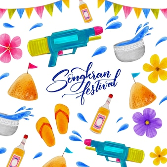 Evento de songkran de design em aquarela