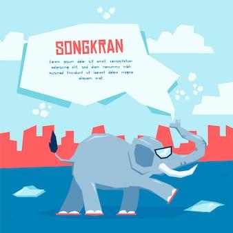 Evento de songkran estilo mão desenhada