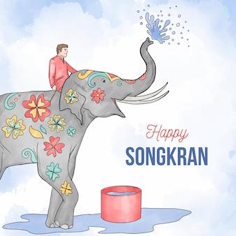 Evento de songkran ilustrado em aquarela