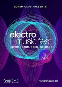 Evento de transe. forma e linha de gradiente dinâmico. capa de discoteca brilhante. folheto de evento de néon trance. techno dj party. electro dance music. som eletrônico. cartaz do clube fest.