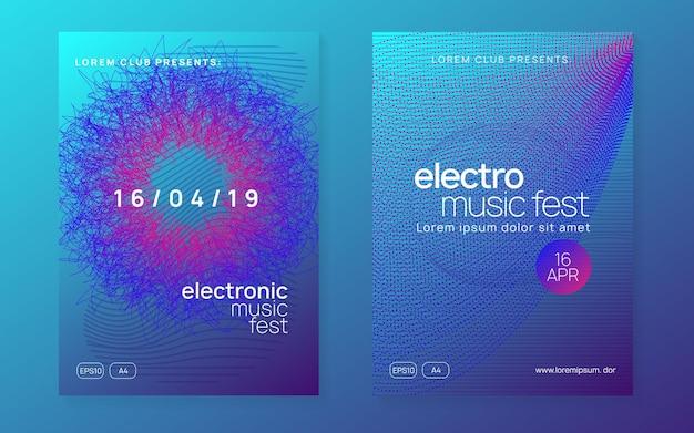 Evento de transe. forma e linha de gradiente dinâmico. conjunto de brochura de concerto abstrato. folheto de evento de néon trance. techno dj party. electro dance music. som eletrônico. cartaz do clube fest.