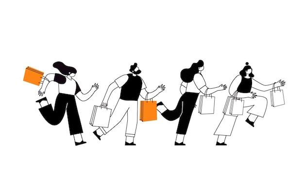 Evento de venda da black friday. personagens de pessoas de linha com sacolas de compras. grande desconto, conceito promocional, cartaz publicitário, banner.