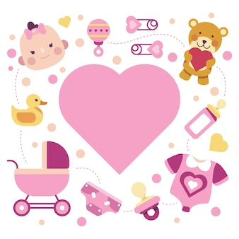 Evento do chuveiro de bebê para design de menina