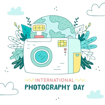 Evento do dia da fotografia com câmera