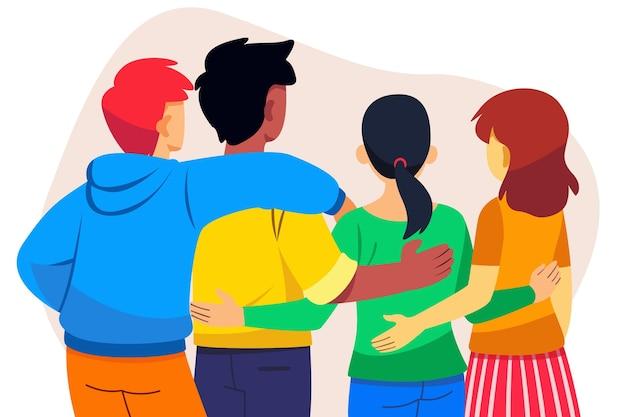 Evento do dia da juventude com pessoas abraçando