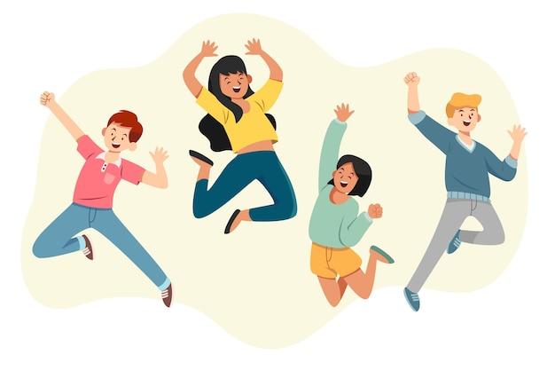 Evento do dia da juventude com pessoas pulando