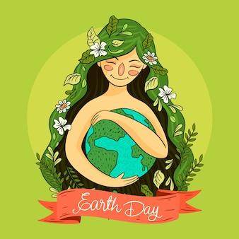 Evento do dia da mãe terra desenhado à mão