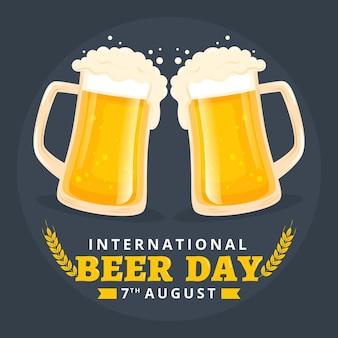Evento do dia de cerveja com design plano de canecas