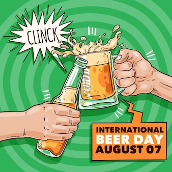 Evento do dia de cerveja com estilo de mão desenhada caneca