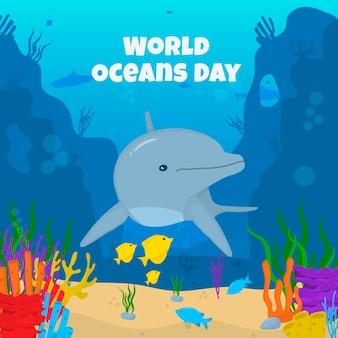 Evento do dia dos oceanos com golfinhos