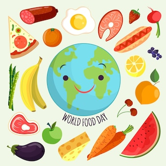 Evento do dia mundial da comida com estilo desenhado à mão