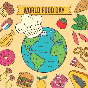 Evento do dia mundial da comida desenhado à mão