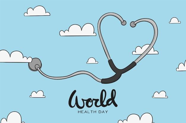 Evento do dia mundial da saúde desenhado à mão