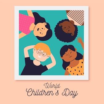 Evento do dia mundial das crianças com design desenhado à mão
