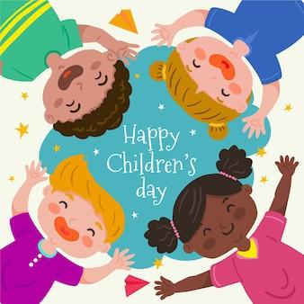 Evento do dia mundial das crianças com estilo desenhado à mão