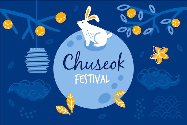 Evento do festival chuseok desenhado à mão