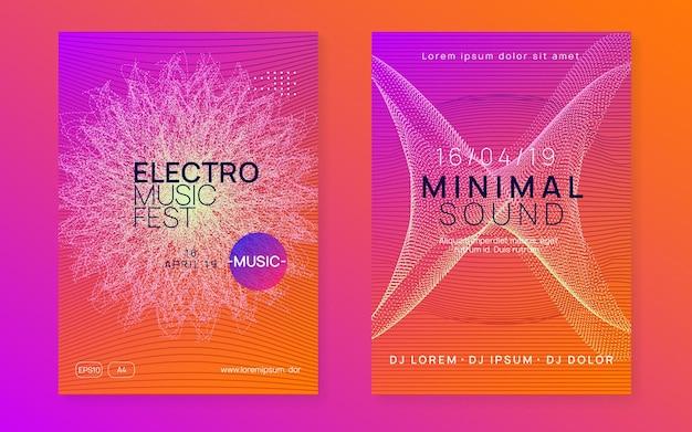 Evento elétrico. forma e linha de gradiente dinâmico. conjunto de brochura de show moderno. folheto de néon de evento elétrico. trance dance music. som eletrônico. cartaz do clube fest. techno dj party.