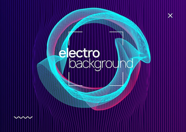 Evento elétrico. layout de convite de concerto futurista. forma e linha de fluido dinâmico. folheto de néon de evento elétrico. trance dance music. som eletronico