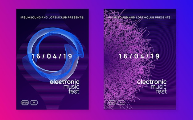 Evento eletrônico. conjunto de brochura de show futurista. forma e linha fluidas dinâmicas. evento eletrônico de néon. electro dance dj. som transe. cartaz do clube fest. folheto de festa de música techno.