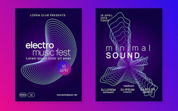 Evento eletrônico. conjunto de capa de show comercial. forma e linha de gradiente dinâmico. evento eletrônico de néon. electro dance dj. som transe. cartaz do clube fest. folheto de festa de música techno.