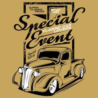 Evento especial amantes de carros clássicos, ilustração de um carro clássico de mini caminhão