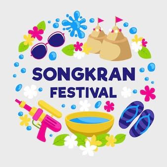Evento festival songkran design plano