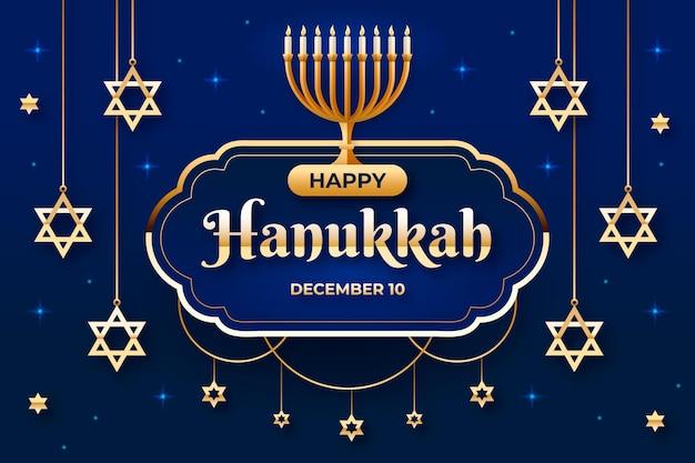 Evento hanukkah azul e dourado