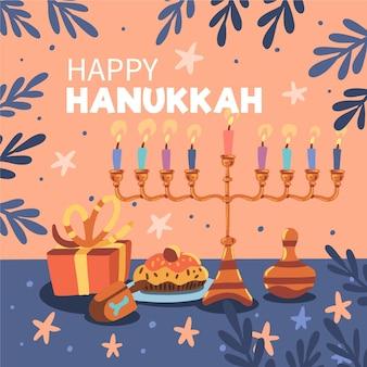 Evento hanukkah desenhado à mão