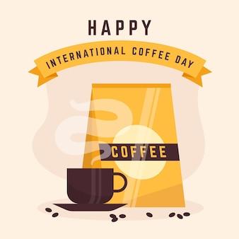 Evento ilustrado do dia internacional do café