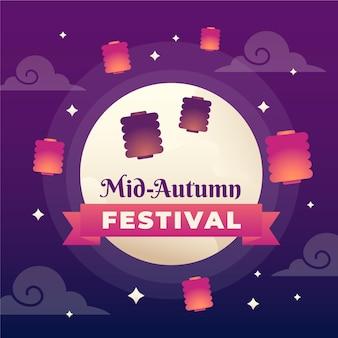 Evento ilustrado do festival de meados do outono