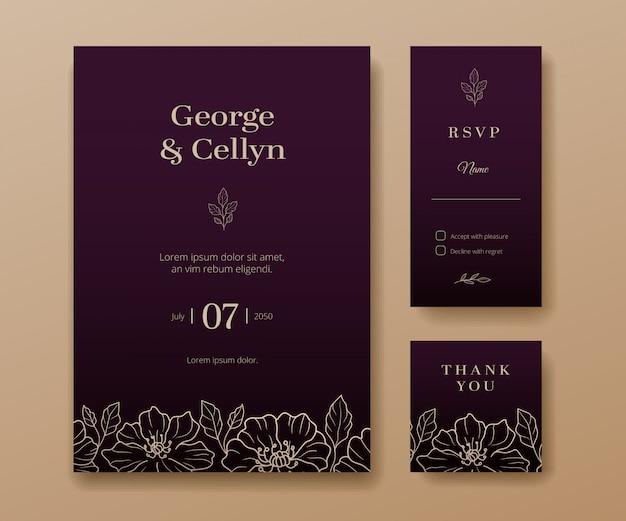 Evento minimalista moderno e convite de casamento