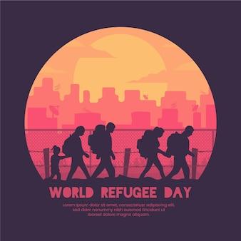Evento mundial do dia do refugiado de silhuetas