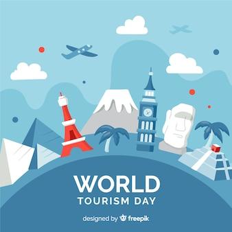Evento mundial do turismo com marcos e transporte