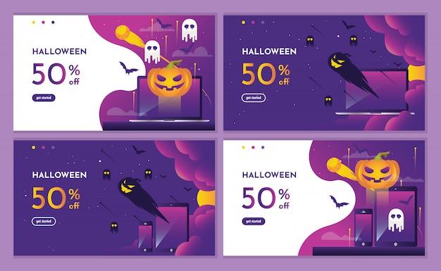 Evento roxo de desconto de halloween com abóbora e página de destino de dispositivos