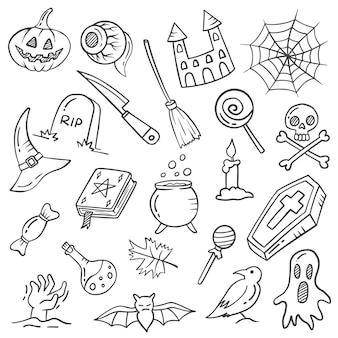 Eventos de halloween feriado doodle conjunto desenhado à mão coleções com contorno estilo preto e branco