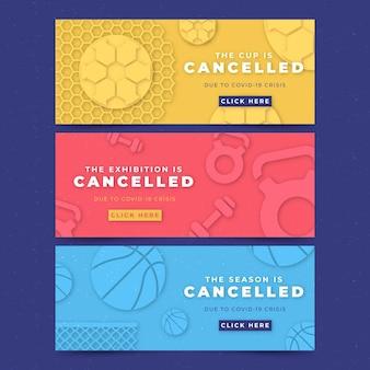 Eventos de jogos de esporte cancelados banners