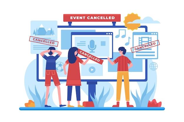 Eventos diferentes cancelados anúncio ilustrado